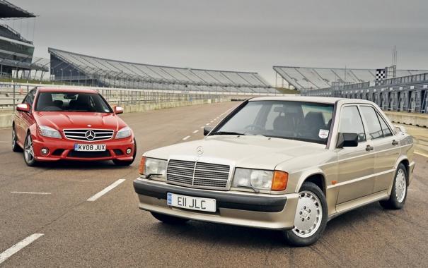 Фото обои передок, Mercedes-Benz, фон, старый и новый