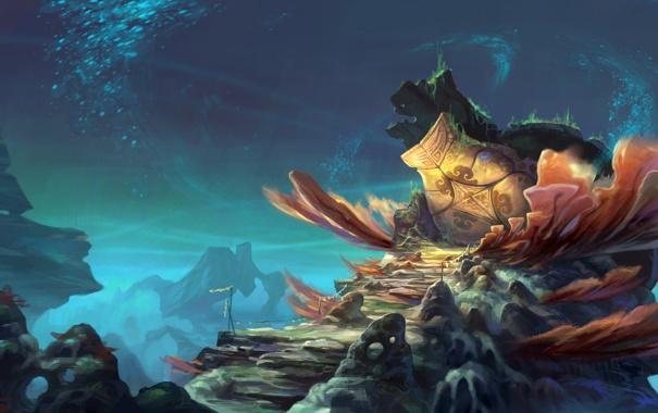 Фото обои вода, водоросли, пузырьки, скалы, черепаха, растения, арт
