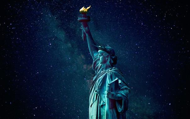 Фото обои звезды, ночь, Статуя Свободы, млечный путь, Liberty
