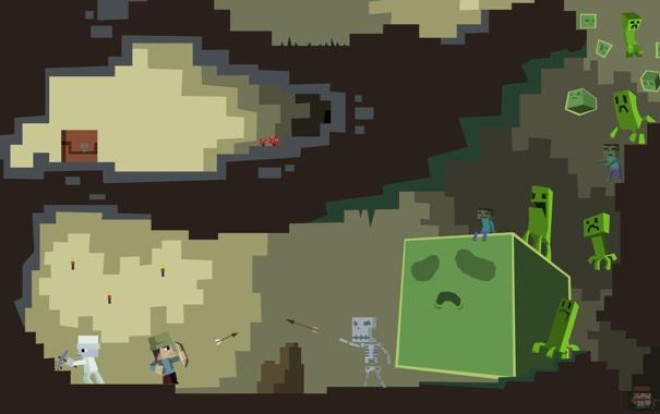 Фото обои песочница, персонажи, minecraft, мобы.