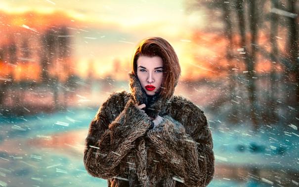 Фото обои метель, ветер, шуба, Sunset winter, Katy Sendza, снег, девушка