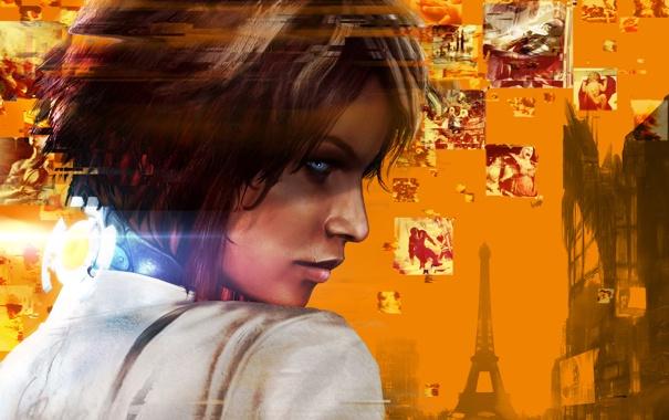 Фото обои взгляд, девушка, воспоминания, город, волосы, Эйфелева башня, шрам
