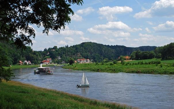 Фото обои деревья, река, корабль, Германия, луг