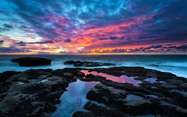 Фото обои пейзаж, камни, океан, расвет, Oregon Coast