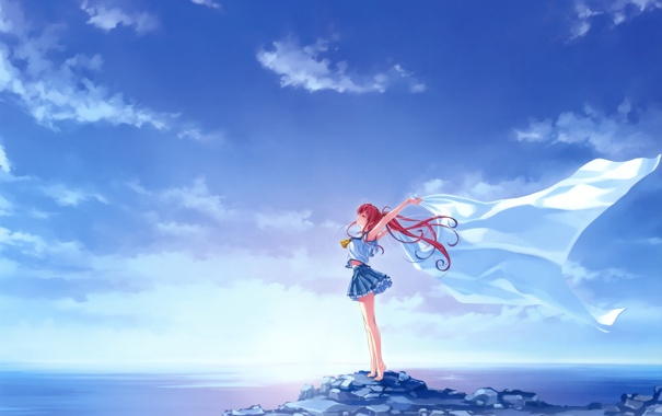 Фото обои небо, девушка, простыня