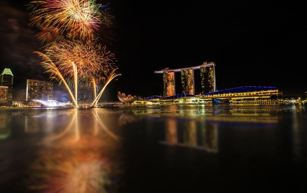 Фото обои небо, вода, ночь, город, огни, отражение, здания