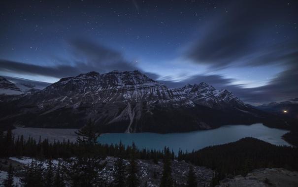 Фото обои лес, ночь, озеро, гора, Banff National Park, Alberta, Canada