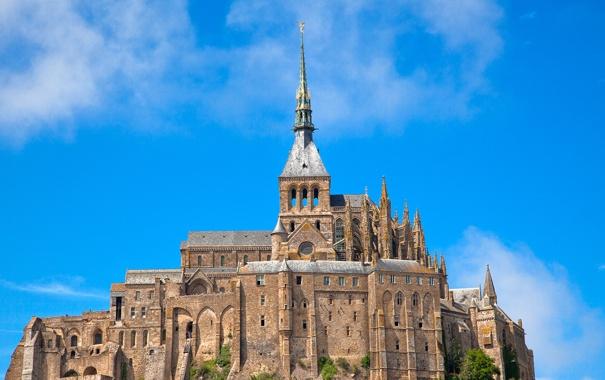 Фото обои небо, облака, замок, Франция, Нормандия, Мон-Сен-Мишель