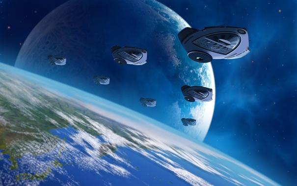 Фото обои корабли, Земля, орбита, эскадрилья