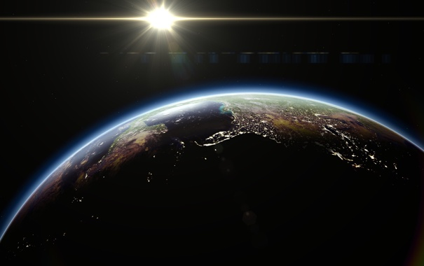 Фото обои космос, огни, восход, земля, планета, earth, space