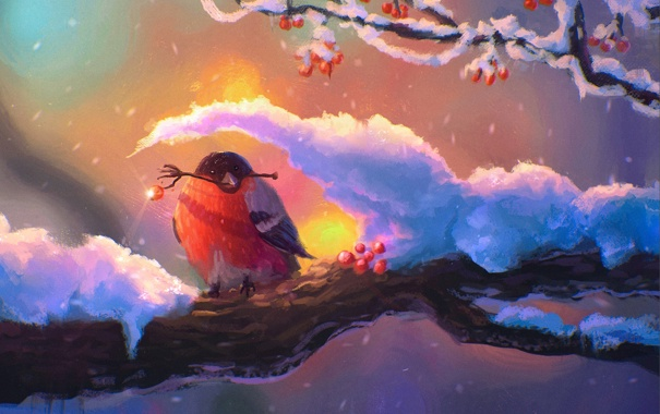 Картинки на рабочий стол зима снегири 1024х768