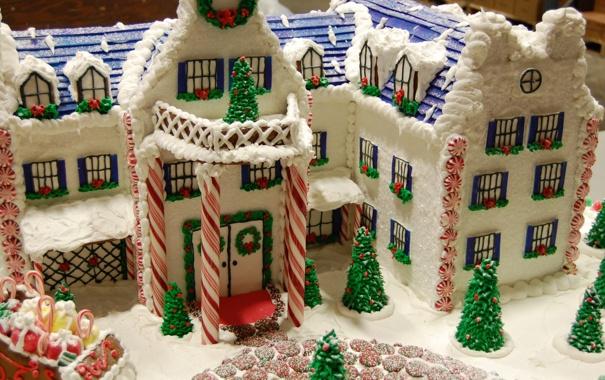 Фото обои зима, настроение, праздник, елки, еда, Рождество, Новый год