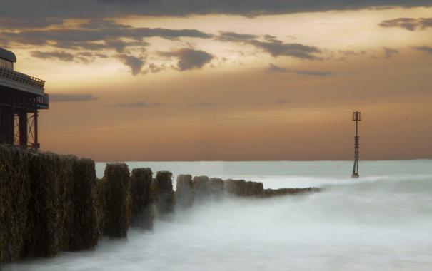 Фото обои море, пейзаж, ночь, пристань