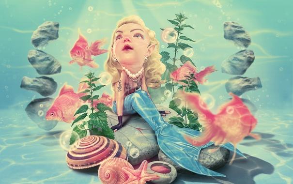 Фото обои рыбки, русалка, sad mermaid, плачит