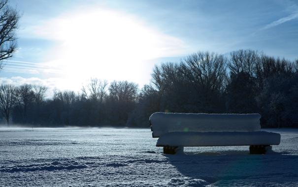 Фото обои в снегу, искрится, скамья, день, bench, зима, снег