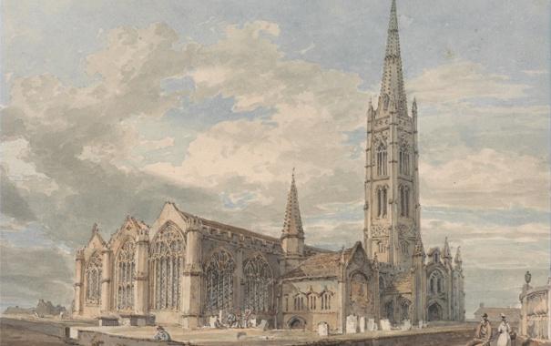 Фото обои пейзаж, башня, картина, акварель, церковь, Уильям Тёрнер, Lincolnshire