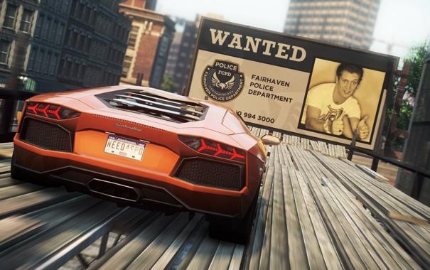 Фото обои город, гонка, суперкар, трюк, need for speed most wanted 2, рекламный щит, lamborghini aventador lp-700-4