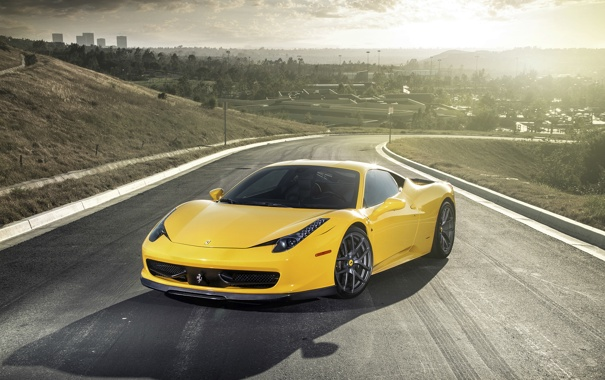 Фото обои Italia, car, 458, Ferrari, tuning, yellow, Vorsteiner