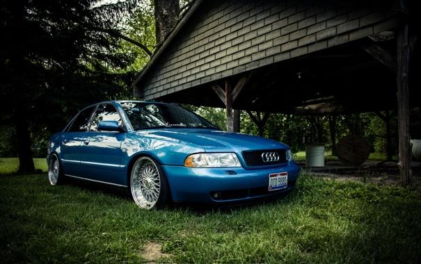 Фото обои Audi, ауди, синяя, blue, stance