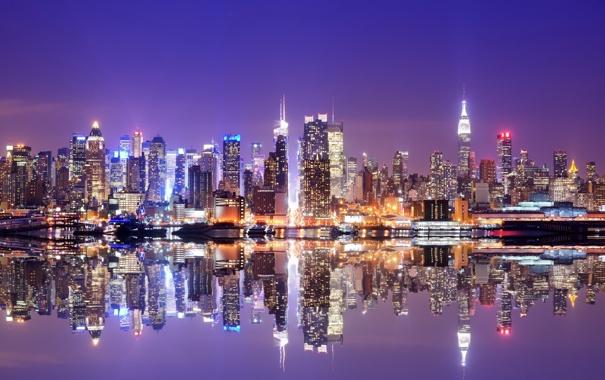 Фото обои небо, свет, отражения, огни, Нью-Йорк, вечер, USA