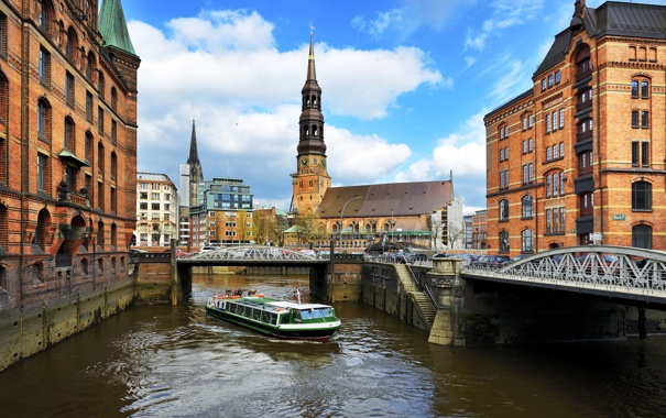 Фото обои небо, облака, мост, city, город, река, здания