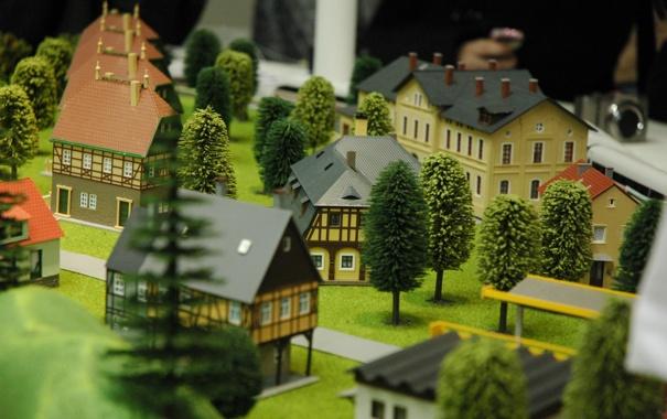 Фото обои город, домики, макет