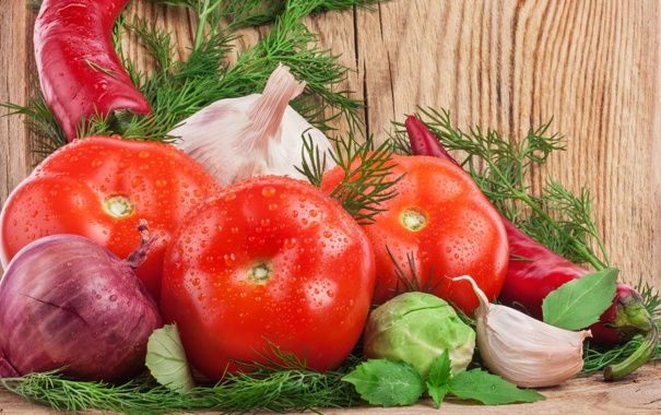 Фото обои лук, укроп, перец, овощи, помидор, капуста, чеснок