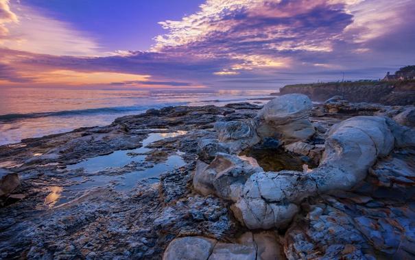 Фото обои море, пляж, камни, рассвет, берег