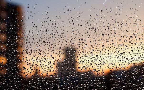 Фото обои стекло, капли, город, дождь, окно