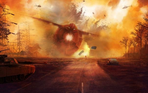 Фото обои крушение, вертолеты, танк, лэп, человек, дорога, арт