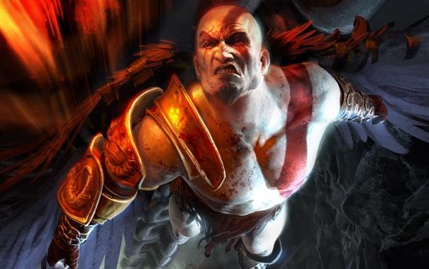 Фото обои летит, кратос, god of war 3, могуч