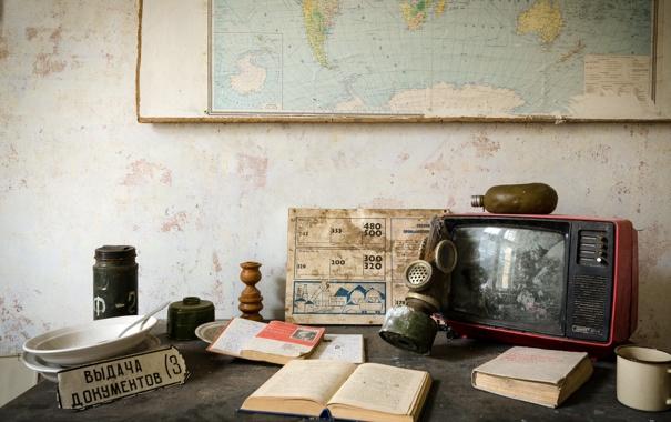 Фото обои карта, книга, телевизор