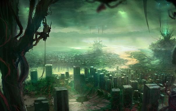 Фото обои деревья, город, человек, пауки, арт, монстры, руины
