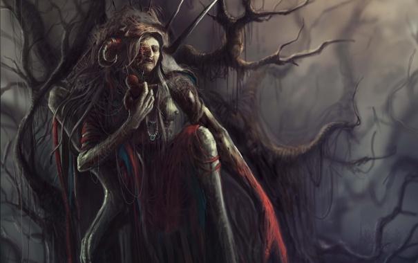 Фото обои деревья, кукла, арт, кривые, ведьма, колдовство, вуду