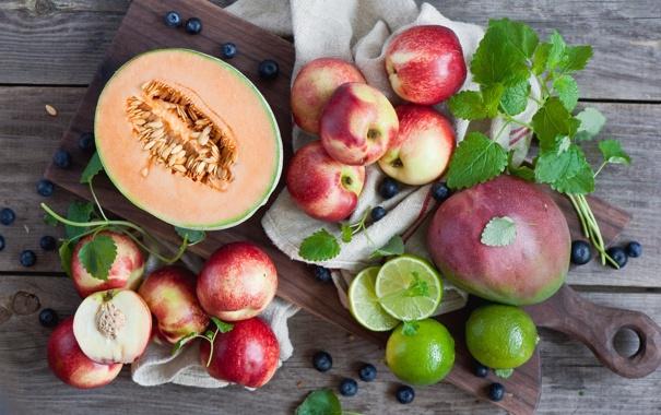 Фото обои ягоды, черника, лайм, фрукты, цитрусы, дыня, fruits
