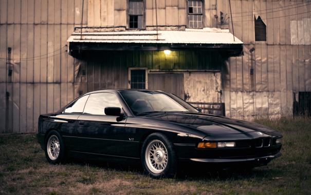 Фото обои черный, бмв, BMW, light, grass, black, 850