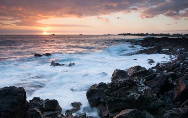 Фото обои закат, пена, облака, корабли, волны, камни, море