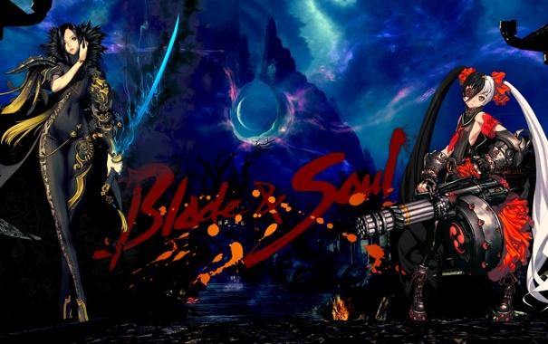 Фото обои оружие, девушки, меч, повязка, пулемет, мрачно, blade & soul