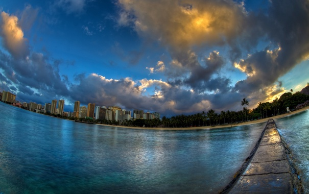 Фото обои пейзаж, город, Waikiki Cloud