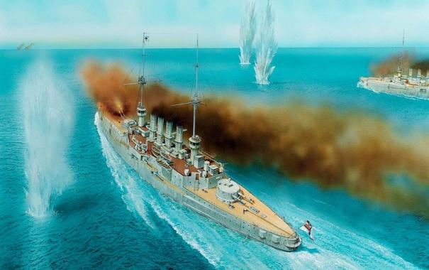 Фото обои дым, рисунок, арт, выстрелы, немецкие, разрывы, морское сражение