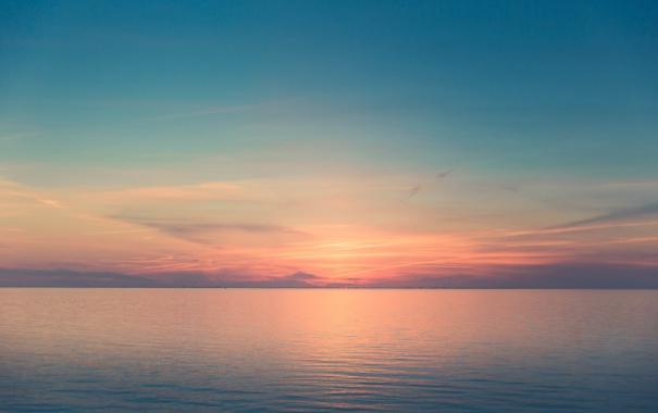 Фото обои закат, облака, горизонт, небо, отражение, зеркало, море