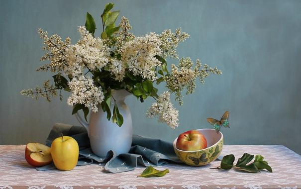 Фото обои яблоки, букет, белая, ваза, фрукты, натюрморт, сирень