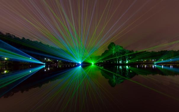 Фото обои ночь, шоу, лазеры