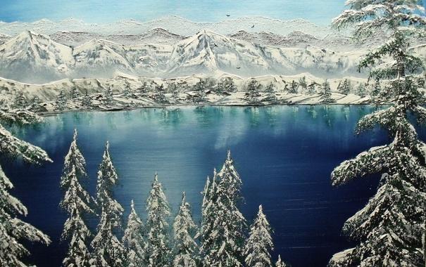 Фото обои зима, снег, деревья, горы, природа, живопись
