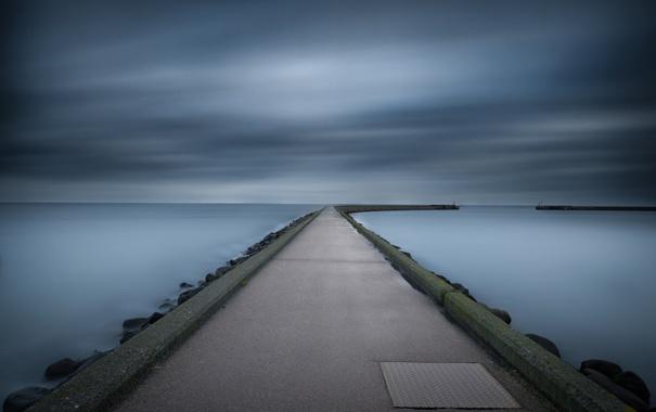 Фото обои море, небо, пейзаж, порт, пирс