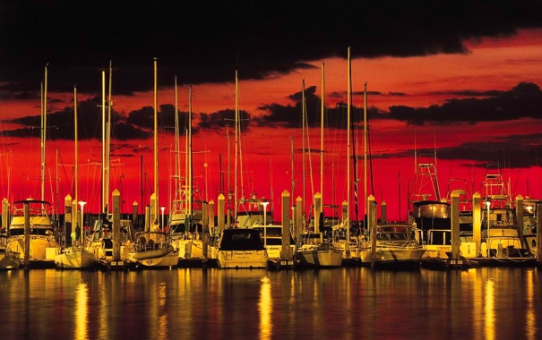 Фото обои море, небо, облака, закат, яхты, лодки, причал