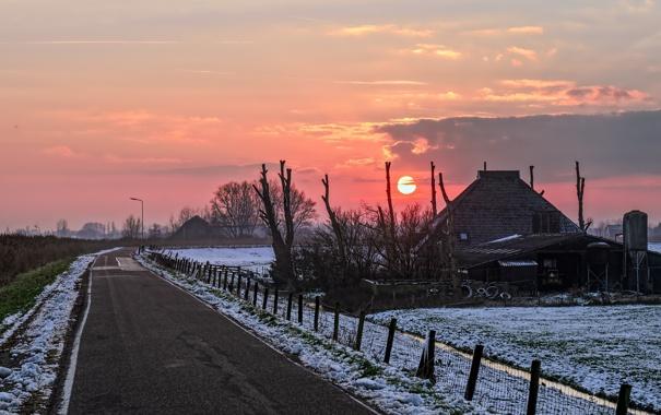Фото обои дорога, закат, дом