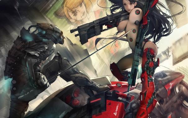 Фото обои девушка, металл, оружие, робот, меч, арт, битва
