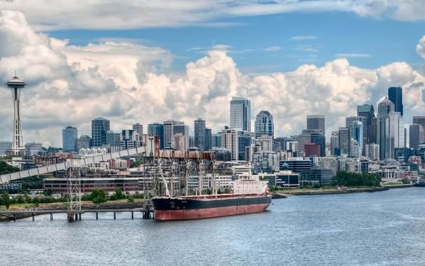 Фото обои здания, судно, Seattle, сиэтл