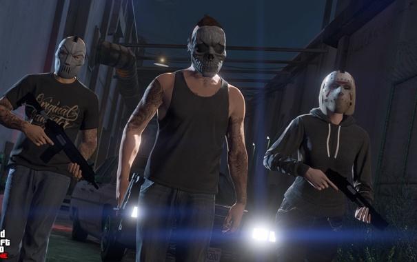 Фото обои бандиты, gta online, gta 5, маски, Grand Theft Auto V, ps4, оружие